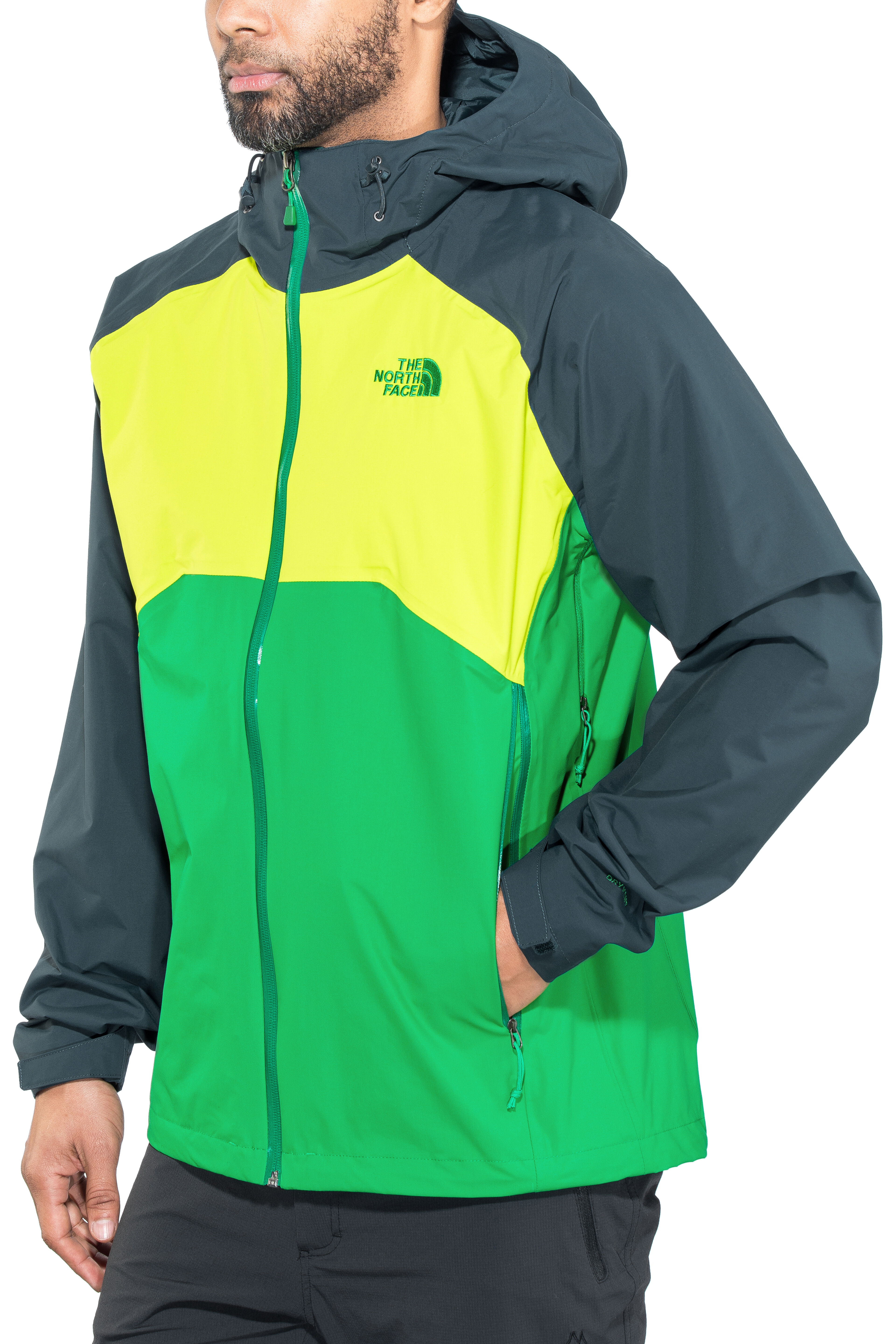 The North Face Stratos Jacket Men Primary Green Lime Green Kodiac Blue 65cfbe147f6e